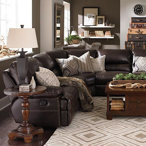Motion Sectional I Love The Throw Pillows Brings The Leather Couch To A More Homey Level Leather Couches Living Room Brown Couch Living Room Brown Living Room
