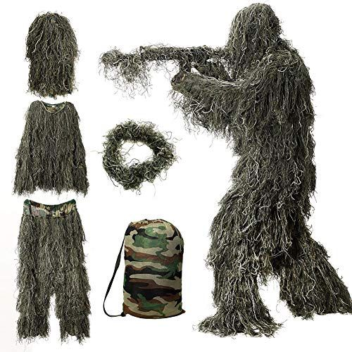 5 in 1 Hunting Ghillie Suit Camo Forest Woodland Camouflage 3D Tactical Suits
