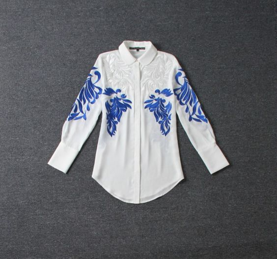 2016 Top Fashion Women's National Baroque Blouse Embroidery Runway Retro Shirt  Plus Size 2XL High Quality Personalty