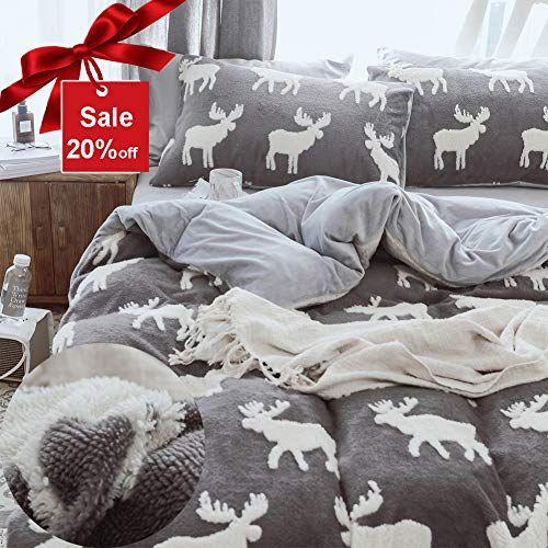 Trasign Plush Duvet Cover Set Queen Kids Duvet Cover Velvet Flannel Bedding Set With Deer Design Queen Size Kids Duvet Cover Flannel Bed Set Duvet Cover Sets