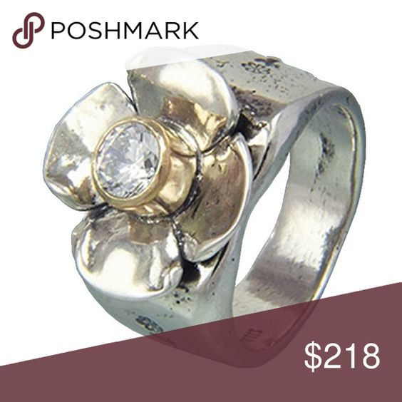 Sterling Silver & CZ Flower Ring Handmade silver, size 6.5 ring with 6mm Cubic Zirconium stone bezel set in 14k Gold, sitting on the middle of a stunning silver flower. Sherry Tinsman Jewelry Rings