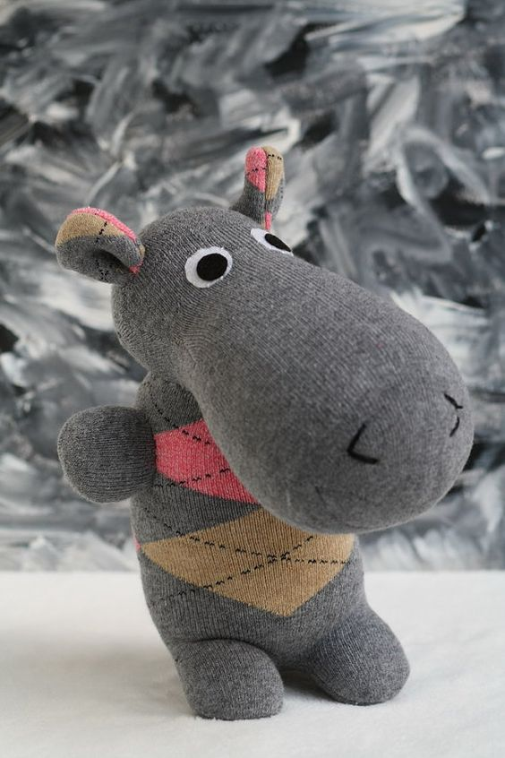 Handmade Large Hippo stuffed animal toys  little by Toyapartment, $19.80