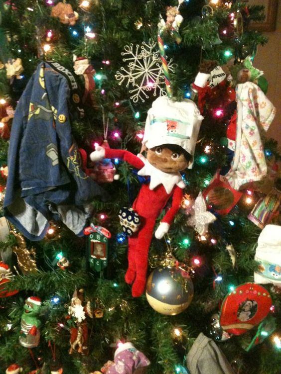 Oh no!  Underwear on the tree.  Silly elf.