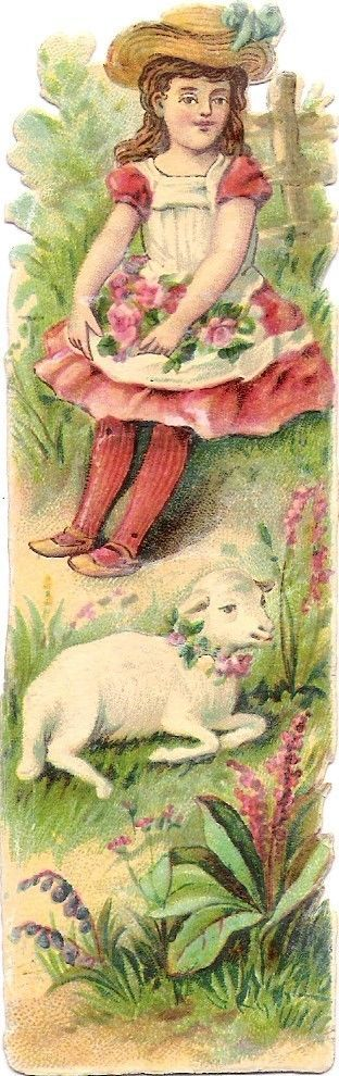 Oblaten Glanzbild scrap die cut chromo Kind  12,5cm child Schaf sheep Mädchen: