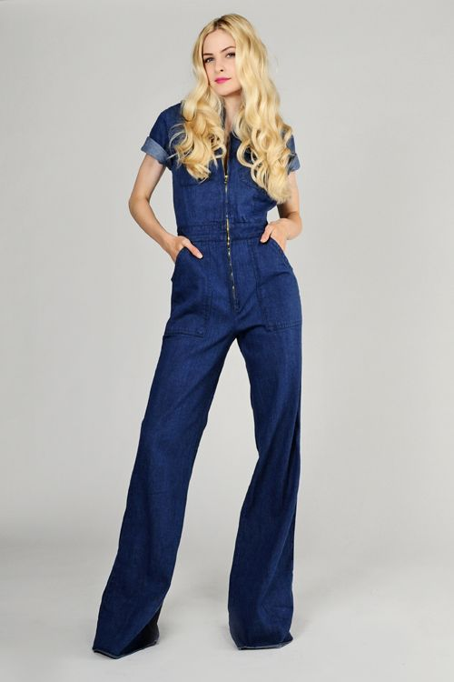 jean jumpsuit | ... denim-BELL-BOTTOM-wide-leg-JUMPSUIT-M-zipper ...