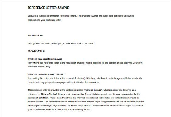 Image Result For Reference Letters Format Reference Formats   Character  Reference Form Template  Format For Character Reference Letter