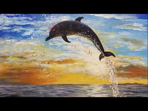 Easy Dolphin Sunset Seascape Acrylic Painting Live Instruction