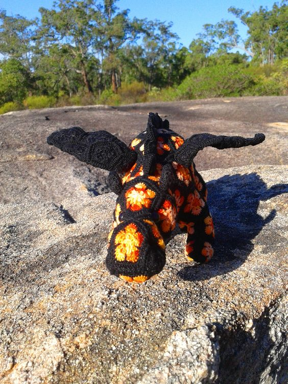 African Flower Crochet Dragon Pattern : Mini Smaug the African Flower Dragon. Project notes and ...