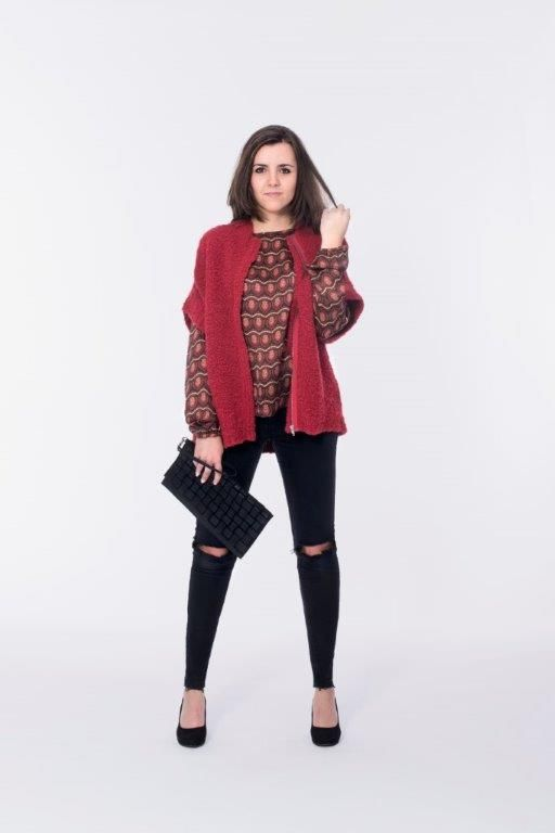 """Red Carpet Look"" - printed silk blouse in combination with a short knit-cardigan."