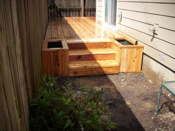 Planters google and boxes on pinterest for Box steps deck