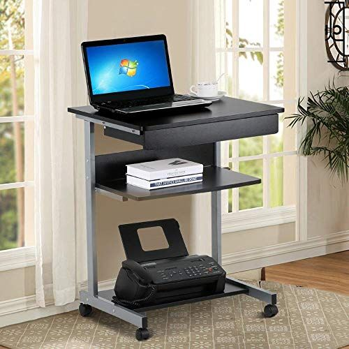 The Yaheetech Mobile Computer Desk Cart Rolling Laptop Pc Table Workstation Drawer Printer Stand Home Office Furniture Online Shopping In 2020 Desk With Drawers Printer Shelf Small Computer Desk