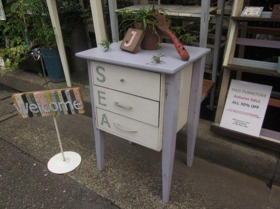 淡いパープルが自慢の三段チェストあなたのお部屋に (SEA) 海の香りを・・・遊び心で取手を全て変えてみましたサイズ W420 × H620 &t...|ハンドメイド、手作り、手仕事品の通販・販売・購入ならCreema。