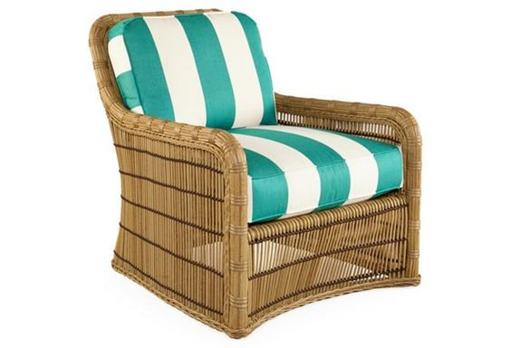 Rafter Stripe Lounge Chair, Bermuda Turq...two please with the ottoman.....