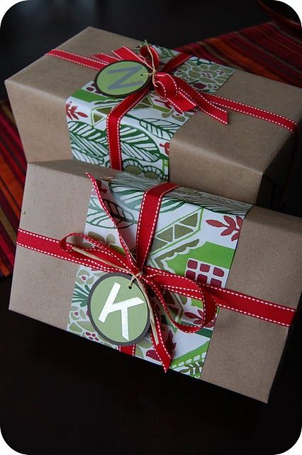 Christmas Wrappings - I really like this! smart way to save on wrapping paper but still cute