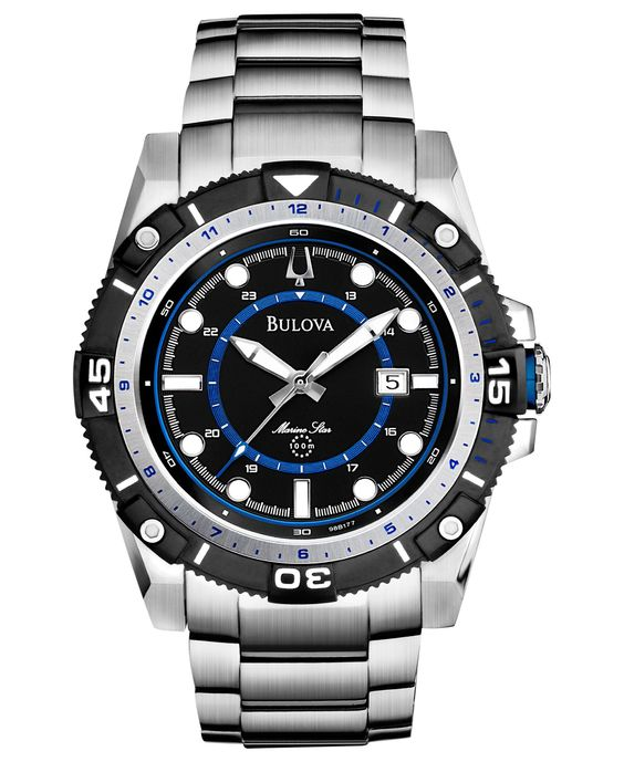 Bulova Men's Marine Star Stainless Steel Bracelet Watch 44mm 98B177