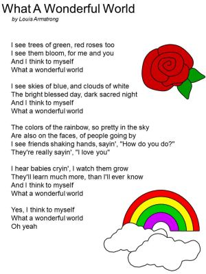 Free Printable Lyrics To Quot What A Wonderful World Quot By Louis