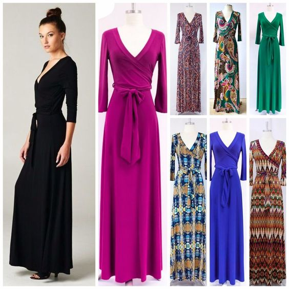 Details about LONG or SHORT SLEEVE MAXI WRAP DRESS 70&39s SOLID ...