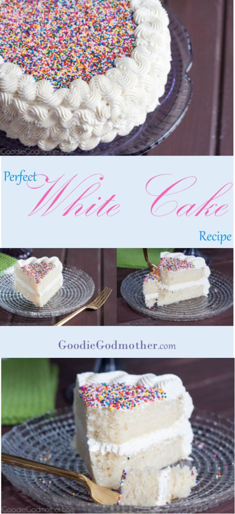 Perfect white cake recipe from scratch! No shortening or artificial ingredients in the recipe, but you still get a light, white cake, with a perfect crumb. Get the recipe on GoodieGodmother.com