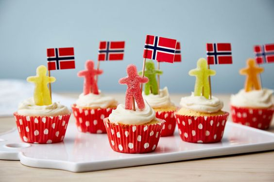 Muffins med seigmenn til 17.mai - Baking for alle