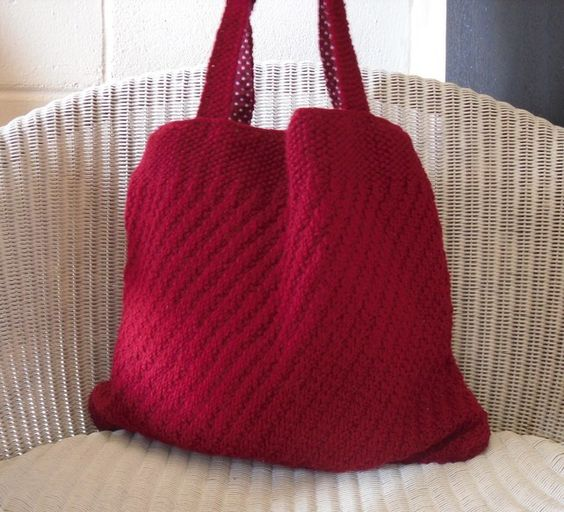 Hand Knitted Red Tote Bag £35.00