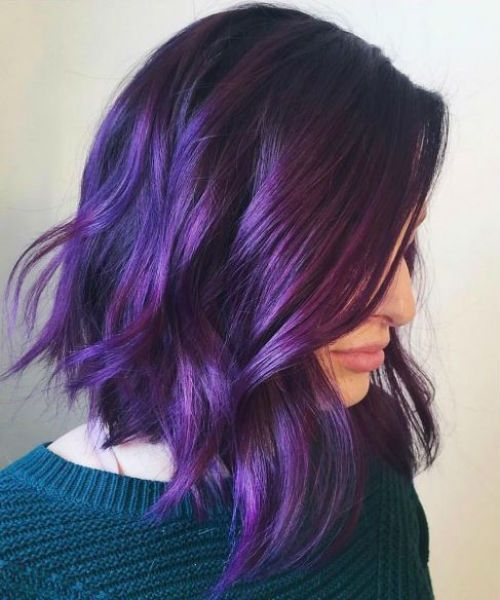 Exclusive Purple Hair Color For Medium And Shoulder Length Hair 2019 Messy Hairstyle Short Purple Hair Purple Ombre Hair Hair Color Purple