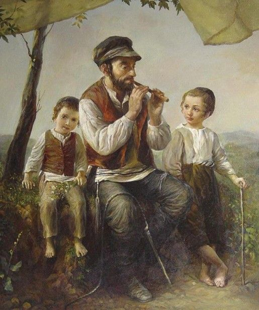 Elena Flerova -Under the Tree- Jewish Art Oil Painting