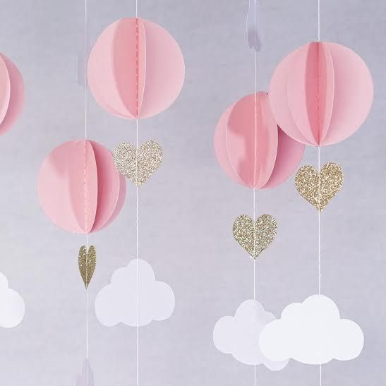 Pink white gold glitter hot air balloon hearts cloud baby for Silver cloud balloons