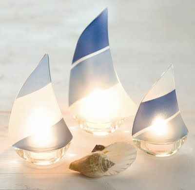 Cottages sailboats and beaches on pinterest - Sailboat tealight holders ...