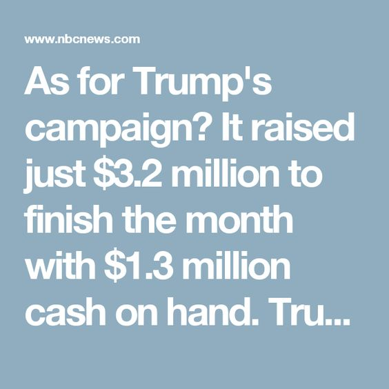 As for Trump's campaign? It raised just $3.2 million to finish the month with $1.3 million cash on hand. Trump also charged his campaign for use of his properties, airline, and food and beverages at Trump-owned hotels and golf courses.