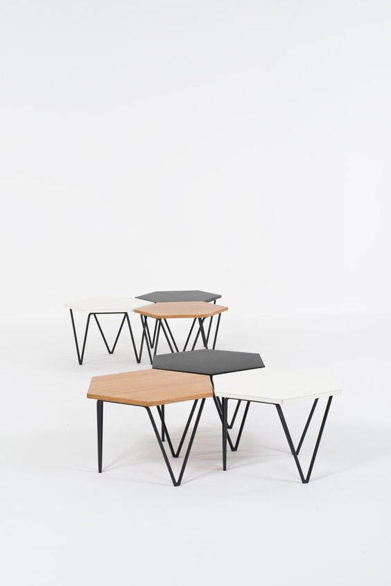 Gio Ponti; Enameled Metal and Laminated Wood Modular Coffee Tables for I.S.A., 1950s.