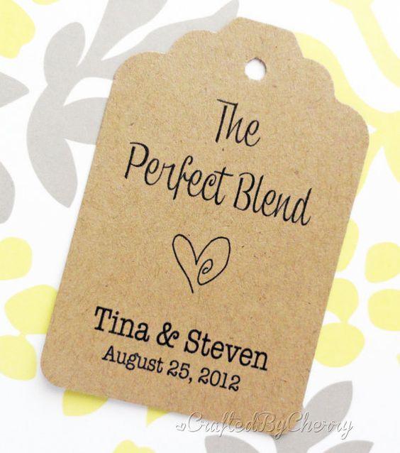 Custom Perfect Blend Wedding Favor Tags  Kraft by CraftedByCherry, $20.00