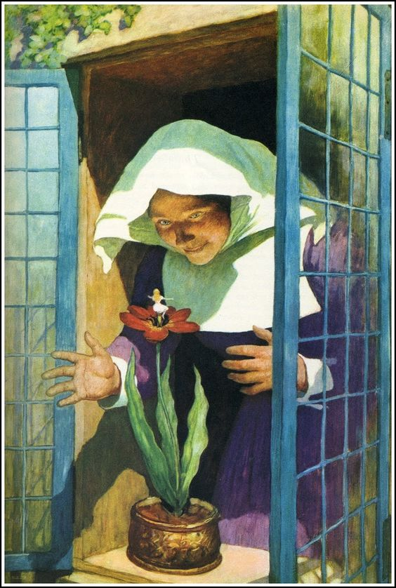 """Illustration by N.C. Wyeth (American, 1882-1945) for """"Thumbelina"""" from 'Anthology of Children's Literature', 1940."""