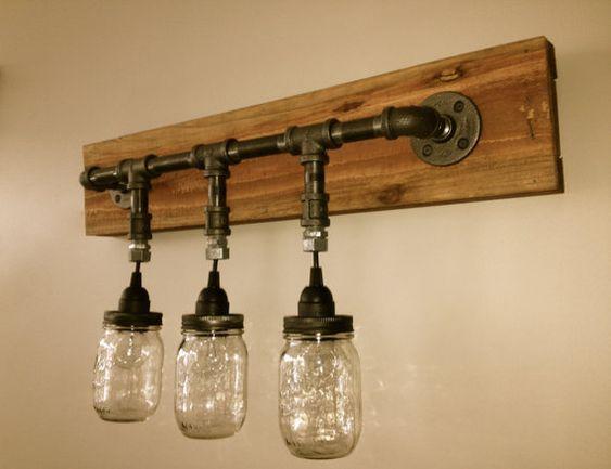 Mason jar vanity light mason jar wall light fixture wall - Mason jar bathroom light fixture ...