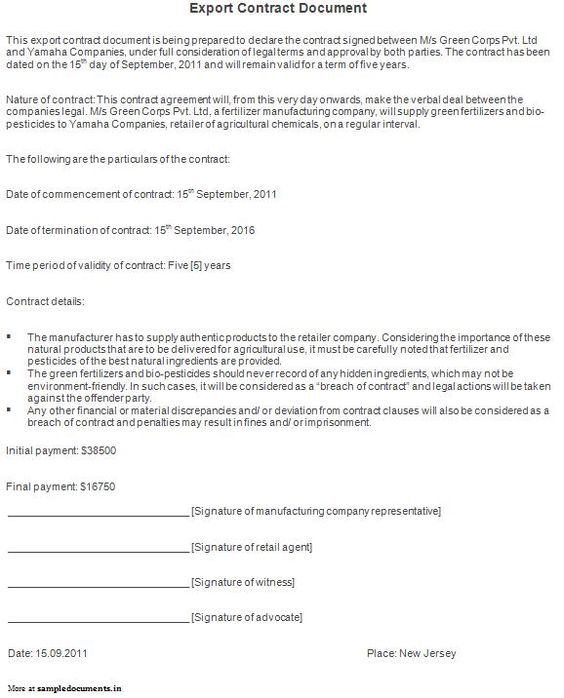 Sample Contract Document Contract Documents Pinterest - Export Agreement Sample