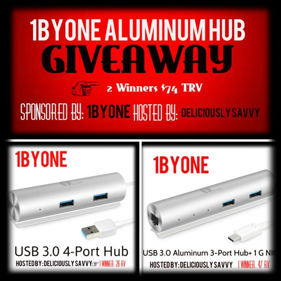 1ByOne Aluminum Hub Giveaway (2 Winners ~ $74 Total ARV) #1ByOne ~ Ends 4/29 ~ Deliciously Savvy