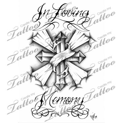marketplace tattoo in loving memory cross 3350 tattoo designs for sale. Black Bedroom Furniture Sets. Home Design Ideas