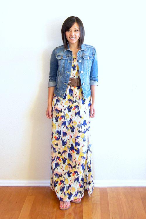 floral maxi dress / belt / denim jacket :: member | Fashion ...