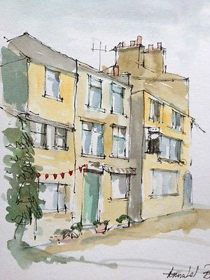 Original Water Colour  painting  'Houses in Howarth, Yorkshire' Signed £4
