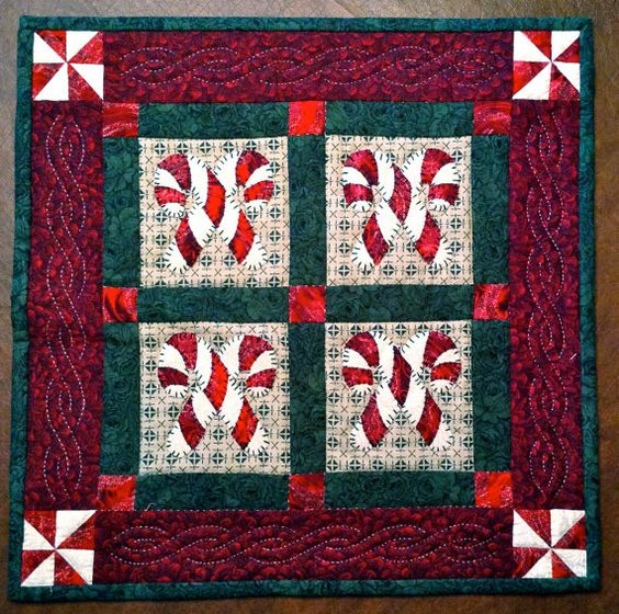 Candy Cane Holiday Quilt by KellarGirlCreations on Etsy, $80.00