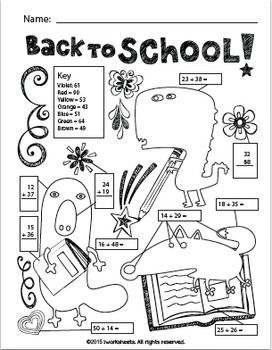 Free BacktoSchool color by answer math worksheet