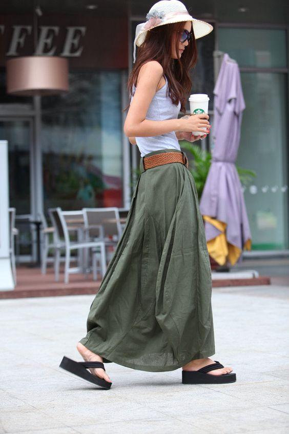 maxi linen skirt by sophia clothing on etsy