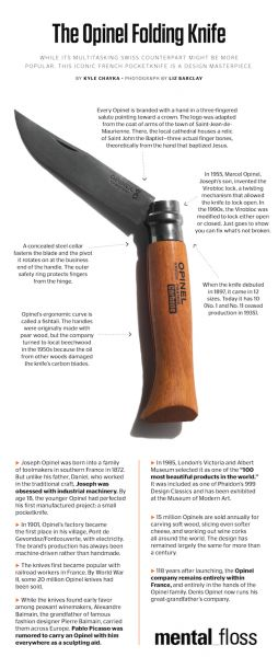 The following infographic is from the site MentalFloss , which is a great place to timewaste. I obviously thought that you all would be interested in seeing it. Chris's review of the Opinel No. 8 ...