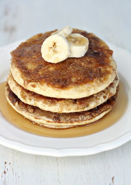 dinner or dessert: cinnamon - crusted banana bread pancakes