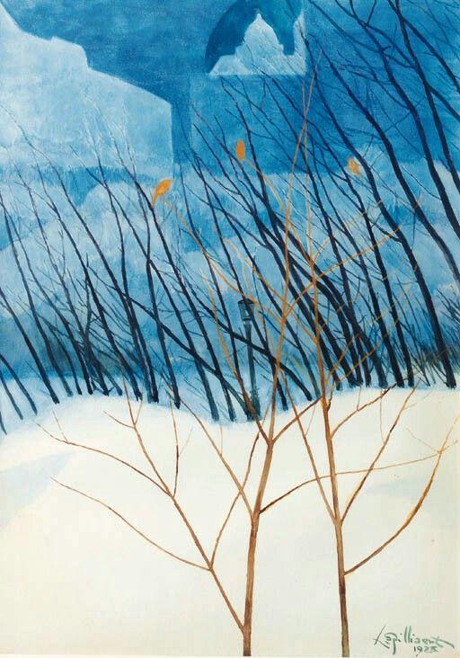 Léon Spilliaert (Belgian, 1881-1946),Asnowy dreamlandscape, 1928. Watercolour and gouache on paper, 74 x 53cm.