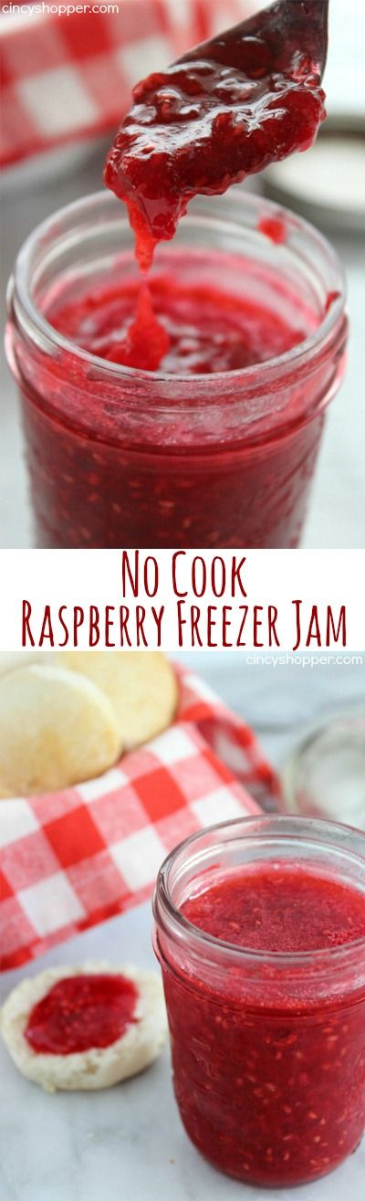 No Cook Raspberry Freezer Jam- Super Simple. Ready in just a few minutes time. Great on PB&J, Biscuits, etc. So Much better than store bought!