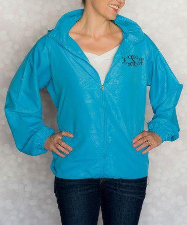 Look what I found on #zulily! Turquoise Monogram Rain Jacket - Women #zulilyfinds