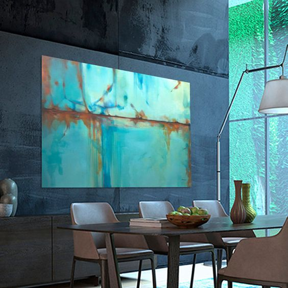 Abstract painting Turquoise Blue Green Orange moderne original painting, Dimensions: 76.7 x 51.2 inches (195 x 130 cm)