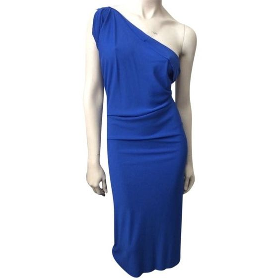 Roland Mouret Pre-owned Roland Mouret Dress Wimba ($549) ❤ liked on Polyvore featuring dresses, none, one sleeve cocktail dress, preowned dresses, one-sleeve dress, blue draped dress and blue one shoulder dress