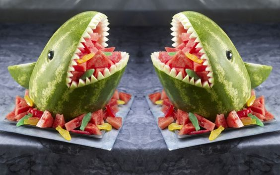 Sharks shark watermelon and carving on pinterest