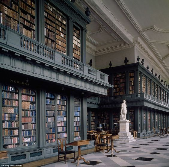 The Codrington Library was completed in 1851 and features white marble statues that contra...